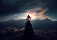 Overlook ({jessica drossin}) Tags: jessicadrossin portrait woman facelss back light city sky cloud dark sunset flickers lights mountains overlook high cloudy blue wwwjessicadrossincom