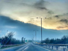 No___traffic___on___new___year's___day😊 (gnewmd) Tags: clouds highway motorway cloudy foggy lightposts drywinter roads roadtravel twilight dimlight fog