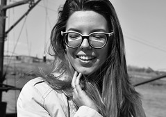 201 (marcomarchetto956) Tags: nikon girl smile glasses raincoat blonde beauty italy portrait blackwhite