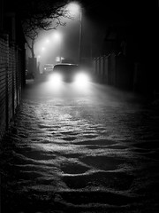 night road and car (Pomo photos) Tags: lamp car road night lowlight olympus penf olympuspenf leica25mm surreal noir ground street dim dull abandoned lost alone winter blackandwhite bw monochrome mono mood mist misty fog tree shadow light