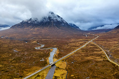 A very moody looking Glencoe in the Scottish Highlands with Buachaille Etive Mor in the distance. (Northern Wild) Tags: scottishhighlands scotland glencoe drone aerialphotography