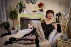 20s Flapper Girl (blackietv) Tags: 20s flapper dress gown black gold pearls tgirl crossdresser crossdressing transgender