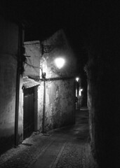 The sound of my steps (lebre.jaime) Tags: portugal beira covilhã architecture nocturnal nightphotography street houses analog film135 bw blackwhite noiretblanc nb pb pretobranco ptbw ilford delta3200 leicam3 summaron2835goggles epson v600 affinity affinityphoto