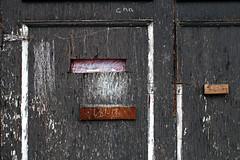 Writer's Corner- Garage Series (Doris Burfind) Tags: garages laneway alley door toronto downtown urban urbex chalk writing graffiti weathered decay