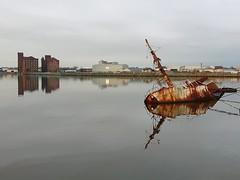 RV Sarsia (MerseySpyder) Tags: rvsarsia shipwreck rustyship eastfloatdock eastfloatquay birkenheaddock birkenhead wallasey wirral uk waterreflection amateurphotographer phonephotography