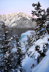 Frozen Bow River (Anthony Mark Images) Tags: bowriver frozenriver snow snowcoveredtrees sunrise morning mountain cliff prettysky beautiful lovely winterscenery lanscape banff alberta canada canadianrockies nikon d850 flickrclickx