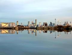 Liverpool Skyline from Alfred Dock (MerseySpyder) Tags: liverpoolskyline liverpoolwaterfront liverpool birkenhead wirral uk alfreddock birkenheaddock amateurphotographer phonephotography waterreflection