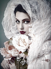 Alabastrine (Spoken in Red) Tags: paleskin bigeyes beauty youth beautifulgirl flowers bouquet female alabaster alabastrine spokeninred faded fineartportrait fineartphotography