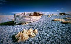Left to rot (David Feuerhelm) Tags: infrared ir wideangle boat abandoned clinker shingle beach wood dungeness kent england sigma1020mmf456 nikon d90 coast