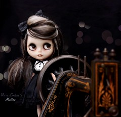At the helm as we sail our ship through 2020... (pure_embers) Tags: pure embers blythe doll dolls laura england uk custom gbaby malice takara neo hair black grey mohair reroot girl photography beautiful portrait sewing machine