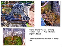 Toronto Ontario - Canada  - Combination Drinking Fountain & Trough - Memorial - 1890's (Onasill ~ Bill Badzo - 68 Million Views) Tags: combination drinking fountain trough basrelief toronto ontario canada king street east memorial horse pets dogs cats old town cast iron st james cathedral park castiron vintage photo onasill collage historic heritage