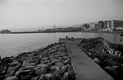Evening in Genova, Foce (35mm Agfa Copex in Spur Dokuspeed SL-N) (tjshot) Tags: film stock 35mm vintage black white home self development tank reel developer microfilm sharpness resolution agfa copex spur dokuspeedsln tones gray dynamicrange scanning stitch dpi optical seascape genoa genova waterfront evening sky light people boat italy konicahexaraf camera grain
