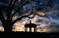 Sunset over the Schuylkill (Dalliance with Light (Andy Farmer)) Tags: ektachromee100 unicolorrapide6kit artmuseum sunset gazebo philly leicam6 elmaritm28mm philadelphia 35mm slidefilm film clouds pennsylvania unitedstatesofamerica