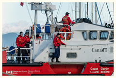 Canadian Coast Guard (marneejill) Tags: coast guard canada cape cockburn crew red white clarity sunny day french creek harbour boat working fisheriesandoceans