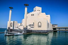 Museum of Islamic Art (kiwi photo lover) Tags: qatar doha arabian peninsula building museum art islamic ancient architecture geometric patterns cloudless sky sea speedboat symmetry
