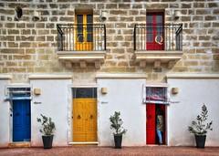 Alfreda, Maria, Macarena. Which door to knock on? (Siuloon) Tags: marsaxlokk malta malte maltese maltais door balconies balcony balkone architektura architecture architettura drzwi house