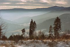 view (Slávka K) Tags: hills mountains foggy view landscape sky clouds forests trees gras valley winter snow january