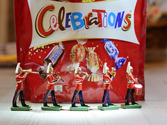 """Flickr Friday - Jubilance.  The band were jubilantly marching along playing Kool and the Gang's """"Celebration"""".  IMG_1388 (alisonhalliday) Tags: flickrfriday jubilance sweets food celebration marchingband soldiers musicalinstruments red canoneosrp canonef100mmf28lmacroisusm cmwdred cmwd colorfulworld"""