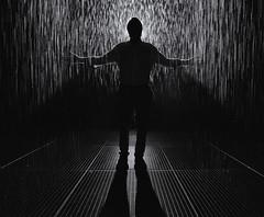 The god of rain (Pat Charles) Tags: rainroom rainroomaus silhouette contrejour blackwhite bw monochrome mono water drops melbourne stkilda saintkilda victoria australia art installation wet rain room museum gallery nikon