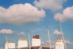 Swanage chimney pots (a.pierre4840) Tags: olympus izm330 38105mm f456 35mmfilm fujic200 colourfilm colorfilm clouds sky chimney dorset england swanage blue architecture composition perspective
