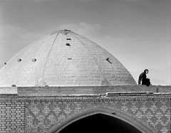 Rooftop (tsiklonaut) Tags: pentax 6x7 67 film analog analogue analogica analoog 120 roll medium format bw black white negro y blanco mustvalge mv iraan iran yazd architecture woman hijab islamic bright roof cone structure stairs landscape cityscape travel discover experience efke ir820 infrared ir drum scan drumscan scanner pmt photomultiplier tube