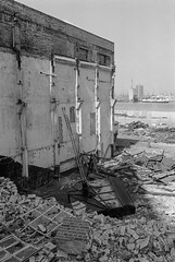 Power Station Demolition, Woolwich, 1981 (peter marshall) Tags: londonphotos london blackandwhite bw petermarshall 1981 powerstation demolition woolwich greenwich river thames ferry riverthames