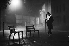 On way back (sylvie.trajan) Tags: street nightphotography people blackandwhite france fog night moody noiretblanc streetshots streetphotography toulouse bnw brume mood chairs monochrome walking