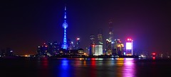 Shanghai - Pudong skyline after hours (cnmark) Tags: china shanghai pudong huangpu river blue light pearl orient pearloftheorient tv tower building night bright colored coloured nacht nachtaufnahme noche nuit notte noite 东方明珠 东方明珠电视塔 reflection reflections famous longexposure langzeitbelichtung skyline ©allrightsreserved