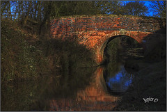 Red Brick Bridge.. (Picture post.) Tags: bridge canal water reflections trees winter bluesky landscape nature green paysage eau