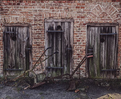 the three doors (Renate R) Tags: old brick wood doors altemeierei pfaueninsel berlin