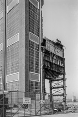 Power Station Demolition, Woolwich, 1981 (peter marshall) Tags: londonphotos london blackandwhite bw petermarshall 1981 powerstation demolition woolwich greenwich riverthames river