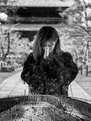 Kyoto Street (Andrew Allan Jpn) Tags: nanzenji japan japanesegirl japanesewoman temple templegarden pray religion smoke incense monochrome blackandwhite travel street streetportrait streetfashion streetphotography streetstyle happyplanet asiafavorites