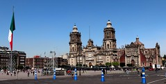 Cathedral of the Assumption of the Most Blessed Virgin Mary into Heavens (Prayitno / Thank you for (12 millions +) view) Tags: roman catholic cathedral church cdmx mexico city zocalo historico historic district distrito downdown down town plaza constitution big flag bandera day time outdoor sunny blue sky iglesia igreja gereja catolica katholik