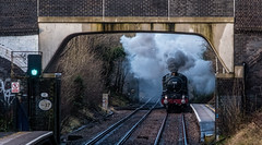 It's getting nearer (Peter Leigh50) Tags: steam smoke locomotive castle class clun 7029 south wigston winter december railway railroad rail station bridge train track signal fujifilm fuji xt2
