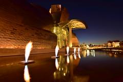 Nocturna , Bilbao (Nacho_71*) Tags: nocturna noche bilbao vizcaya pais vasco basque country larga exposicion fuentes fuego estanque nikon d3300 reflejos museo guggenheim llamas