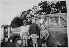 NZ cousins and family 1955 Vauxhall Velox on the farm.  1961 (D70) Tags: nz cousins family vauxhall velox farm print bw kodakbrownie film scanned judy allan chris original taken mothers kodak brownie 120 camera springdale newzealand historic 1955 1961