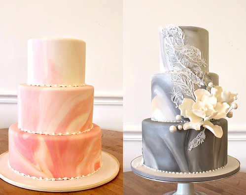 Twin Marble Wedding cakes