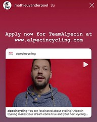 Ok, so @mathieuvanderpoel just shared my face on his timeline! My cycling career has just hit another all time high! #alpecincycling #commercial #famous