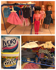 Doll Clothes Wash Day (Foxy Belle) Tags: doll barbie wash clothes tlc dry hang hangers locker shelf how tutorial vintage