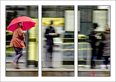 I'm Alright Jack...I have a big umbrella to keep me dry. (Fermat 48) Tags: stpeterssquare red umbrella tramstop manchester triptych rain street canon eos 7dmarkii