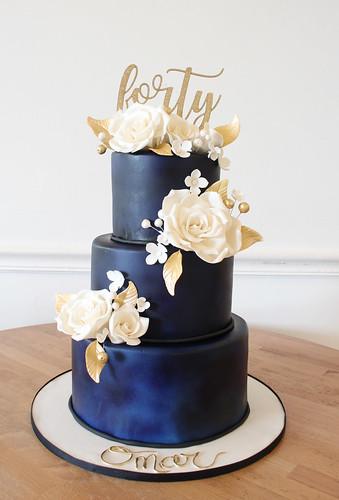 Blue Velvet 40th cake