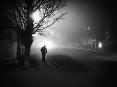 night road and man walking (Pomo photos) Tags: penf olympus leica25mm surreal noir tree trees lamp car road night lowlight leica 25mm ground street dim dull abandoned lost alone blackandwhite bw monochrome mono mood mist misty fog shadow light winter