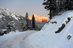 Sun Coming Over the Mountain (Anthony Mark Images) Tags: sunrise morning sunonthemountain mountains road snow snowcoveredtrees banff beautiful alberta canadianrockies christmas2019 canada rockymountains trees nikon d850 flickrclickx