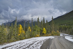 What A Beautiful Drive On This Lonely Road (Bernie Emmons) Tags: smithdorrientrail canmore alberta kananaskis clouds snow mountains dirtroad