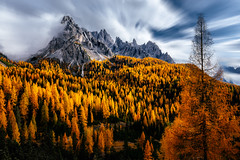 Autumn in the Dolomites (One_Penny) Tags: italy mountains nature landscape dolomites southtyrol mountainscape dolomiten longexposure autumn light sky orange tree fall yellow clouds forest colorful autumncolors