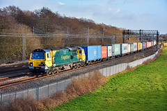 Any Colour You Like (whosoever2) Tags: uk united kingdom gb great britain england nikon d7100 train railway railroad january 2020 freightliner slindon staffordshire class70 70002 4m81 felixstowe crewe intermodal winter sun millmeece