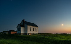 Pheasant Forks (TigerPal) Tags: saskatchewan sask prairie plains summer pheasantforks lemberg church sky moon twilight abandoned forgotten ghosttown longexposure dustyroad gravelroad