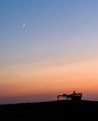 Twilight (TigerPal) Tags: saskatchewan sask prairie plains summer sunset thresher twilight silhouette silhouettephotography moon crescent dusk bayard dirthills abandoned forgotten outtopasture