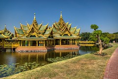 Pavilion of the Enlightened in Muang Boran (Ancient City) in Samut Phrakan, Thailand (UweBKK (α 77 on )) Tags: muang mueang boran ancient city siam open air museum park garden education recreation tourist attraction outdoors history culture samut phrakan province bangkok thailand southeast asia sony alpha 77 slt dslr lake water reflection pavilionoftheenlightened pavilion enlightened building architecture