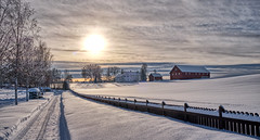 Norway (Vest der ute) Tags: norway winter snow xt20 sunset farm trees pathway fence fav25 fav200